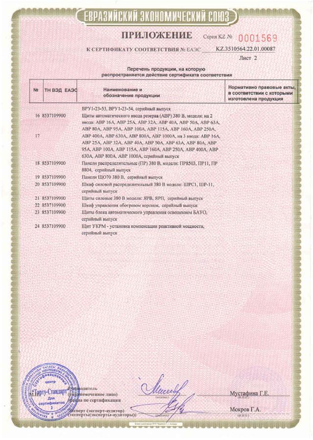 сертификат соответствия UniversalElectro